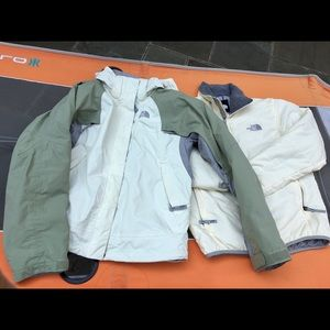 North Face shell and fleece